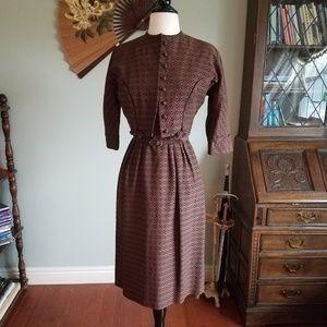 Vintage Hitchcock Style Dress w/Belt and Jacket!